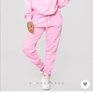 Pink oversized jogger pants (Fashion Nova)